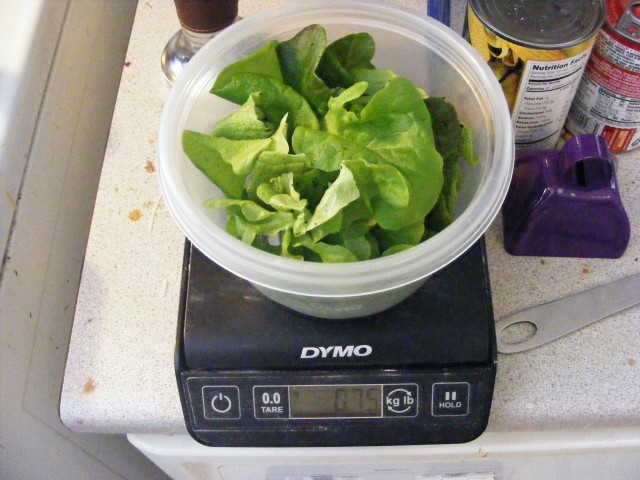 A nice garden salad from the cellar weighed in at 0.75 oz on a Dymo digital scale.